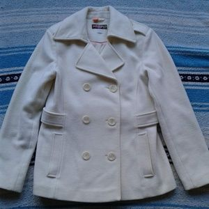 Mudd Coat Double Breasted Pea Cream Wool Blend